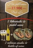 Meat & Wine special offer: 2 salmon steaks and a bottle of white wine only for 27.90€!