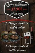 Meat & Wine special offer: 2 rib-eye steaks and a bottle of red whine only for 37.90€!