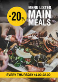 20% off all Menu Listed Main Meals