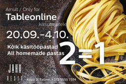 All homemade pastas 2=1 in Jahu Resto for all Tableonline clients